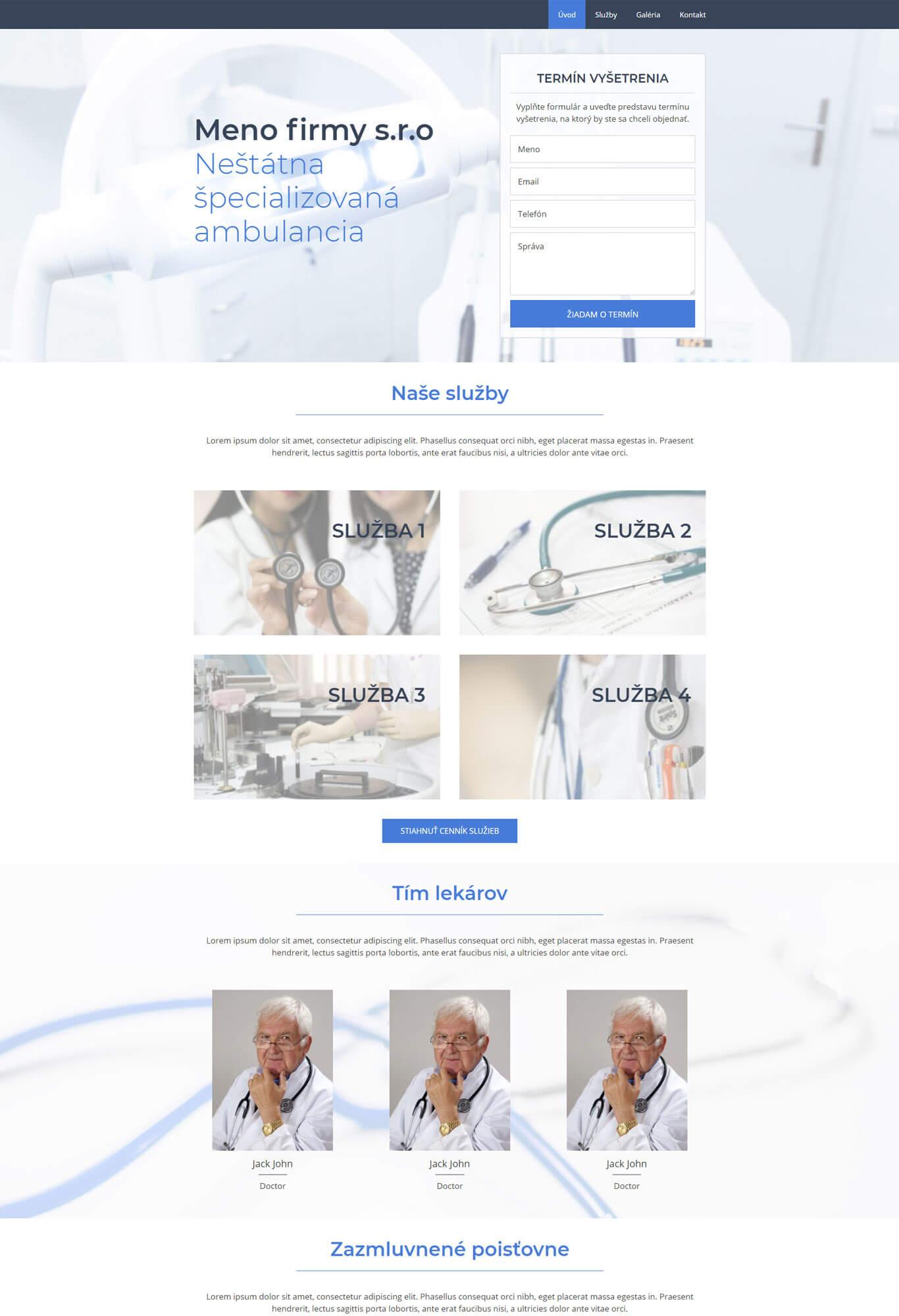 šablóna pre ambulanciu domovská stránka