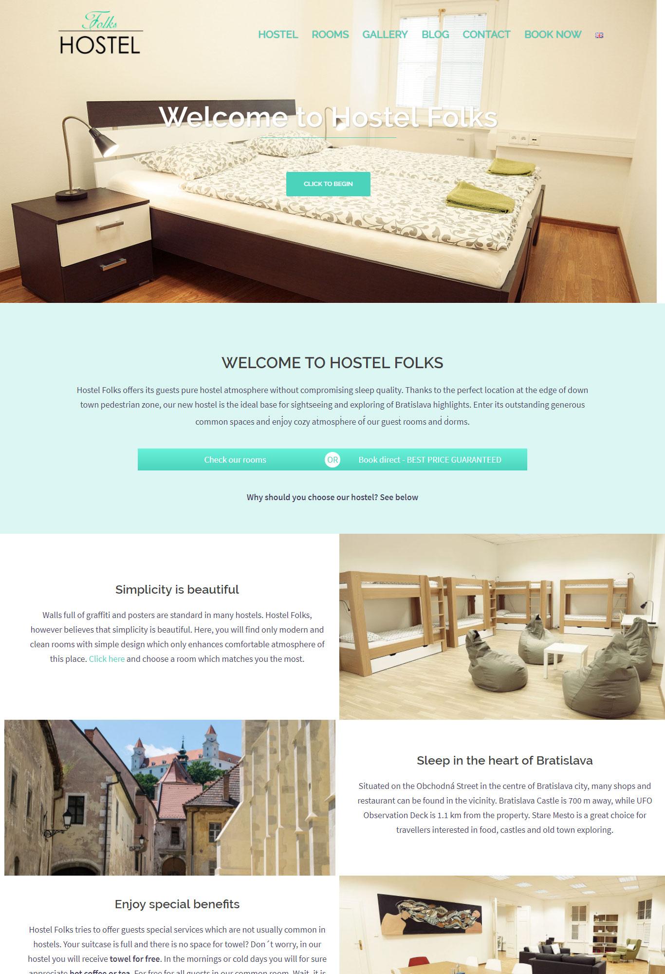 hostel folks tvorba webovej stránky