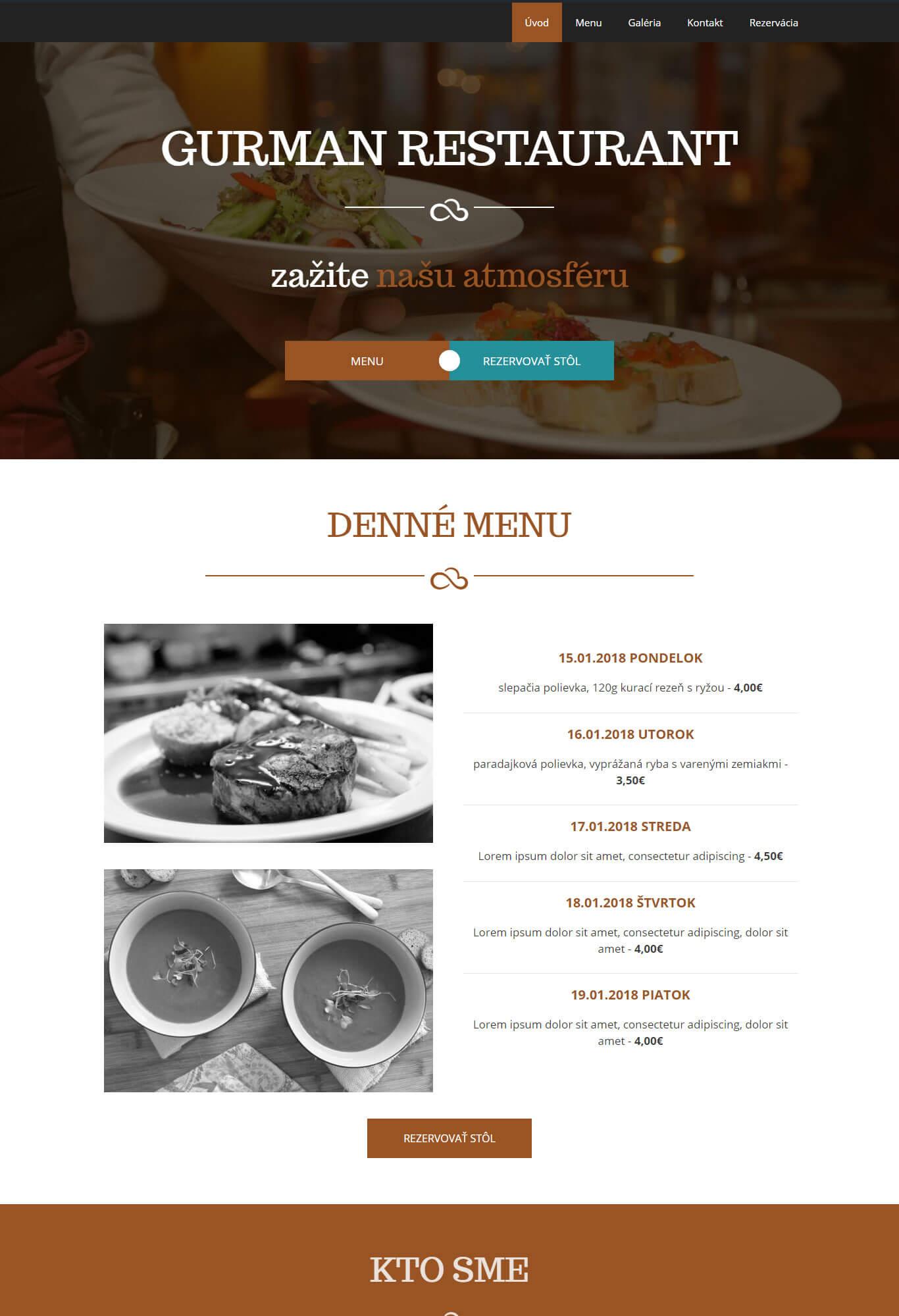 webová šablóna pre reštauráciu