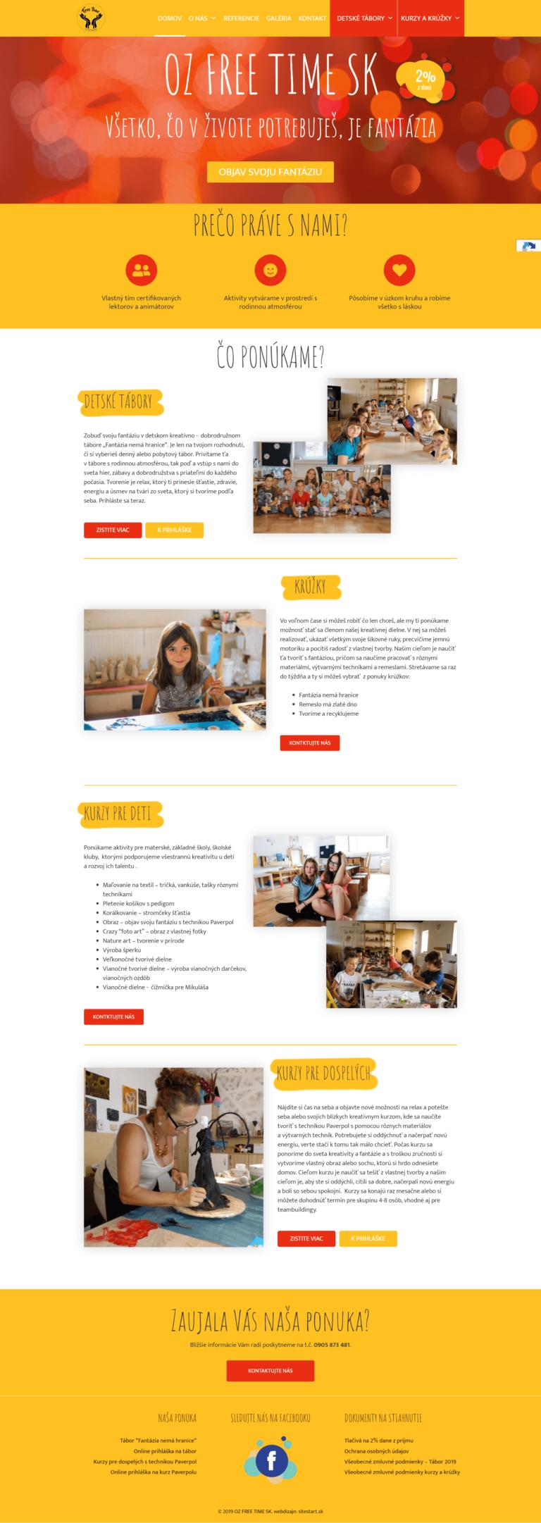 oz free time webdizajn domovská stránka