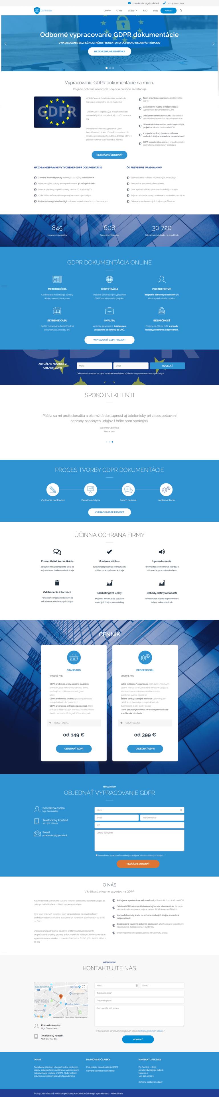 tvorba webovej stránky GDPR data