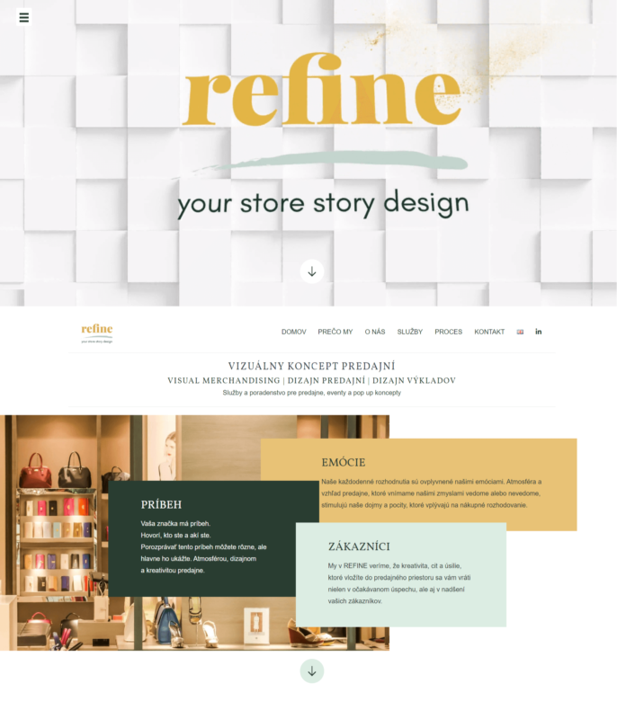webdizajn REFINE sekcia domov