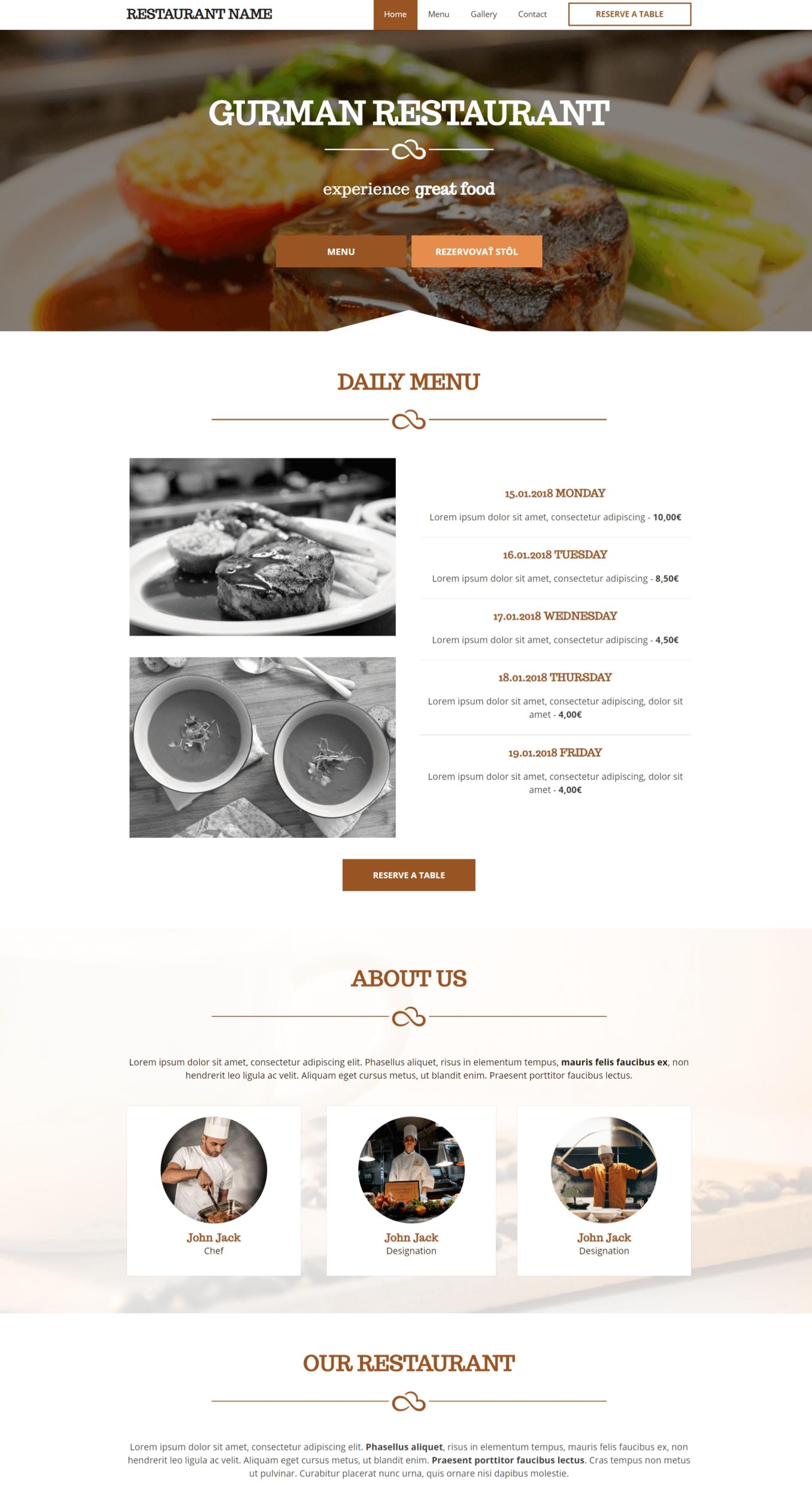 Sitestart webová stránka pre reštauráciu zo šablóny